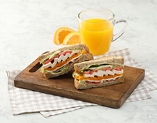 Pumpkin Club Sandwich + Fruit Juice